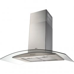 Amica OKP931G 90cm Stainless Steel Curved Glass Chimney Cooker Hood Extractor