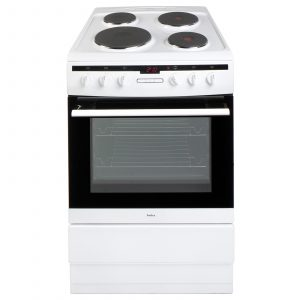 Amica 608EE2TAW 60cm White Freestanding Fan Oven With Electric Cooker Plate Hob
