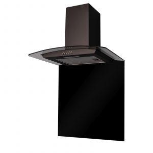 SIA CGH60BL 60cm Curved Glass Black Chimney Cooker Hood & 60cm Glass Splashback