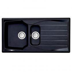 Astracast Sierra 1.5 Bowl Teflite Reversible Black Kitchen Sink And Waste Kit