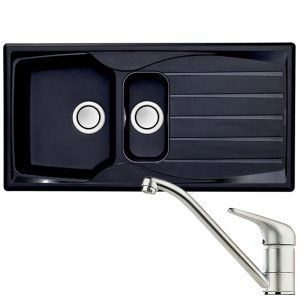 Astracast Sierra 1.5 Bowl Black Kitchen Sink & Clearwater Creta Chrome Mixer Tap