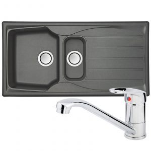 Astracast Sierra 1.5 Bowl Grey Kitchen Sink And Franke Zeno Chrome Mixer Tap