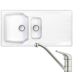 Astracast Sierra 1.5 Bowl White Kitchen Sink & Clearwater Creta Chrome Mixer Tap