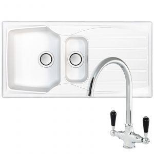 Astracast Sierra 1.5 Bowl White Kitchen Sink & Reginox Brooklyn Chrome Mixer Tap