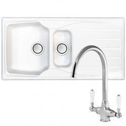 Astracast Sierra 1.5 Bowl White Kitchen Sink & Reginox Elbe Chrome Mixer Tap