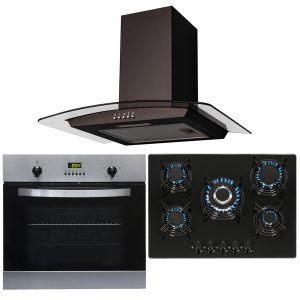 SIA Stainless Steel Single Fan Oven, 5 Burner Gas Hob & 70cm Curved Cooker Hood