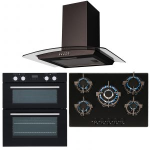 SIA Double Built Under Electric Fan Oven, 5 Burner Gas Hob And Curved Glass Hood