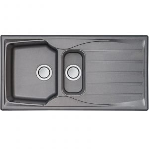 Astracast Sierra 1.5 Bowl Teflite Reversible Graphite Kitchen Sink And Waste Kit