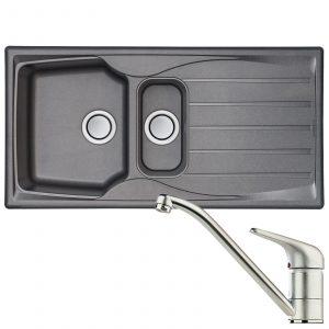 Astracast Sierra 1.5 Bowl Grey Kitchen Sink & Clearwater Creta Chrome Mixer Tap