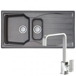 Astracast Sierra 1.5 Bowl Graphite Grey Kitchen Sink & Reginox Astoria Mixer Tap
