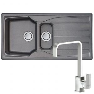 Astracast Sierra 1.5 Bowl Grey Kitchen Sink And Reginox Astoria Chrome Mixer Tap