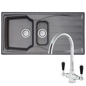 Astracast Sierra 1.5 Bowl Grey Kitchen Sink & Reginox Brooklyn Chrome Mixer Tap