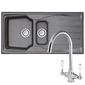 Astracast Sierra 1.5 Bowl Graphite Grey Kitchen Sink And Reginox Elbe Mixer Tap