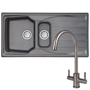 Astracast Sierra 1.5 Bowl Grey Kitchen Sink And Reginox Brushed Steel Mixer Tap