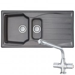Astracast Sierra 1.5 Bowl Grey Kitchen Sink And CDA TC20 Chrome Swivel Mixer Tap