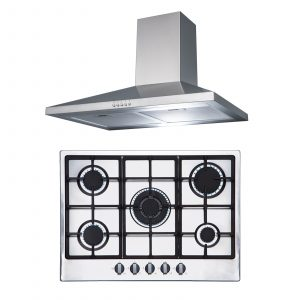SIA R6 70cm Stainless Steel 5 Burner Gas Hob & Chimney Extractor Cooker Hood Fan