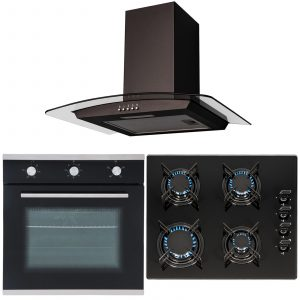 SIA 60cm Black Built In Electric Single Fan Oven, 4 Burner Gas Hob & Curved Hood