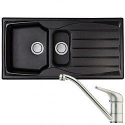Astracast Sierra 1.5 Bowl Black Kitchen Sink & Clearwater Creta Chrome Mixer Tap