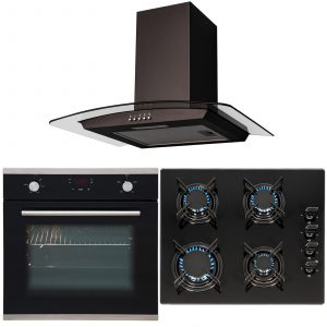 SIA 60cm Black Single Touch Control Fan Oven, 4 Burner Gas Hob & Curved Hood Fan