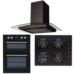 SIA 60cm Black Built In Double Oven, 4 Burner Gas Hob & Curved Glass Hood Fan