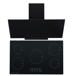 SIA 90cm Black 5 Zone Touch Control Induction Hob & Angled Glass Cooker Hood Fan