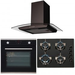 SIA 60cm Touch Control Single Electric Fan Oven, 4 burner Gas Hob & Curved Hood