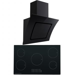 SIA 90cm Black Glass 5 Zone Induction Hob & Curved Angled Cooker Hood Extractor