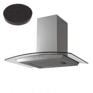 SIA 60cm Stainless Steel Curved Glass Cooker Hood Extractor Fan & Carbon Filter