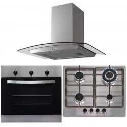SIA 60cm Stainless Steel Single True Fan Oven,4 Burner Hob & Chimney Cooker Hood