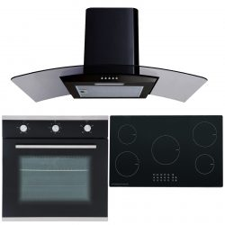 SIA 60cm Single Electric Oven, 90cm 5 Zone Induction Hob & Curved Glass Hood