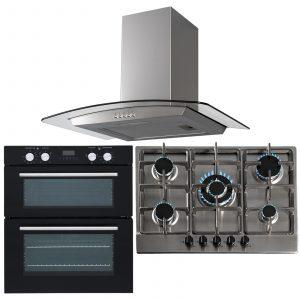 SIA 60cm Black Built Under Double Oven, 70cm 5 Burner Gas Hob & Curved Hood Fan