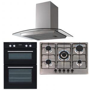 SIA 60cm Black Built In Double Oven, 70cm 5 Burner Gas Hob & Curved Cooker Hood