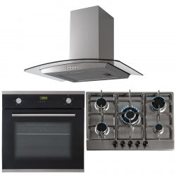 SIA 60cm Black Single Oven, 70cm Stainless Steel Gas Hob & Curved Glass Hood Fan