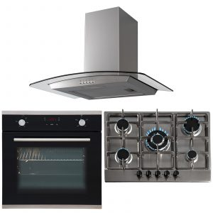SIA 60cm Black Touch Control Oven, 70cm 5 Burner Gas Hob And Curved Glass Hood