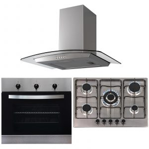 SIA 60cm Stainless Steel Single Electric Oven, 70cm Gas Hob & Curved Glass Hood