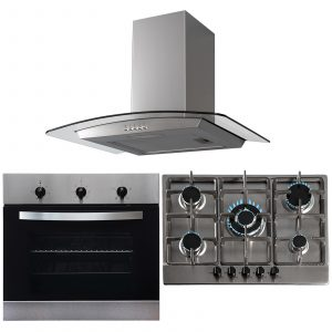 SIA Stainless Steel 60cm Single Electric Oven, 70cm Gas Hob & Curved Glass Hood