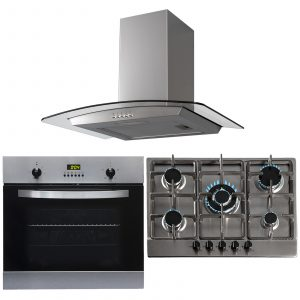 SIA 60cm Stainless Steel Electric Single Oven, 70cm Gas Hob And Curved Hood Fan