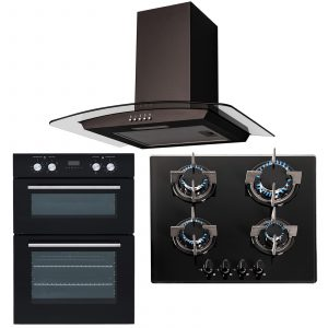 SIA 60cm Electric Double Oven, 4 burner Gas Glass Hob & Curved Glass Cooker Hood