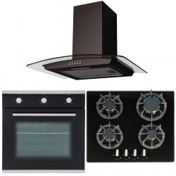 SIA 60cm Single Electric Fan Oven, Gas 4 burner Hob And Curved Glass Cooker Hood