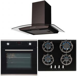 SIA 60cm Single Electric Touch Control Fan Oven, 4 burner Gas Hob & Curved Hood