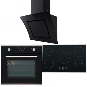 SIA 60cm Electric Single Oven, 5 Zone Induction Hob And 90cm Curved Angled Hood