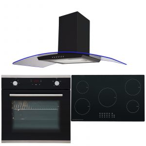 SIA 60cm Electric Single Oven, 5 Zone Induction Hob & 90cm 3 Colour Curved Hood