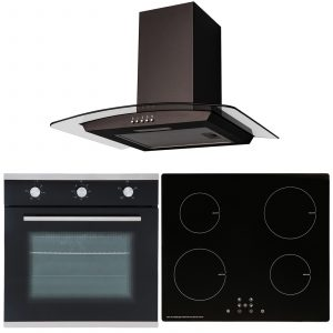 SIA 60cm Black Single Oven, 4 Zone Touch Control Induction Hob & Curved Hood Fan