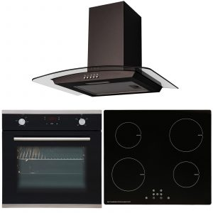 SIA 60cm Black Touch Control Single Oven, 4 Zone Induction Hob & Curved Hood Fan