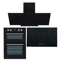 SIA 60cm Electric Single Oven, 90cm 5 Zone Induction Hob And Angled Glass Hood