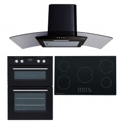SIA 60cm Electric Built-in Double Oven, 90cm 5 Zone Induction Hob & Curved Hood
