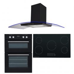 SIA 60cm Electric Double Oven, 90cm 5 Zone Induction Hob & 3 Colour Curved Hood