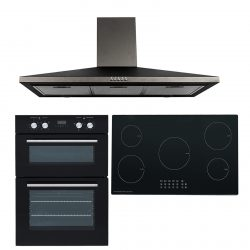 SIA 60cm Electric Double Oven, 90cm 5 Zone Induction Hob & Chimney Cooker Hood
