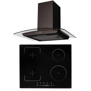 SIA 60cm Black 4 Zone Flexi-Bridge Touch Control Induction Hob & Curved Hood Fan