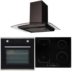 SIA 60cm Black Single Oven, 4 Zone Flexi-Bridge Induction Hob & Curved Extractor